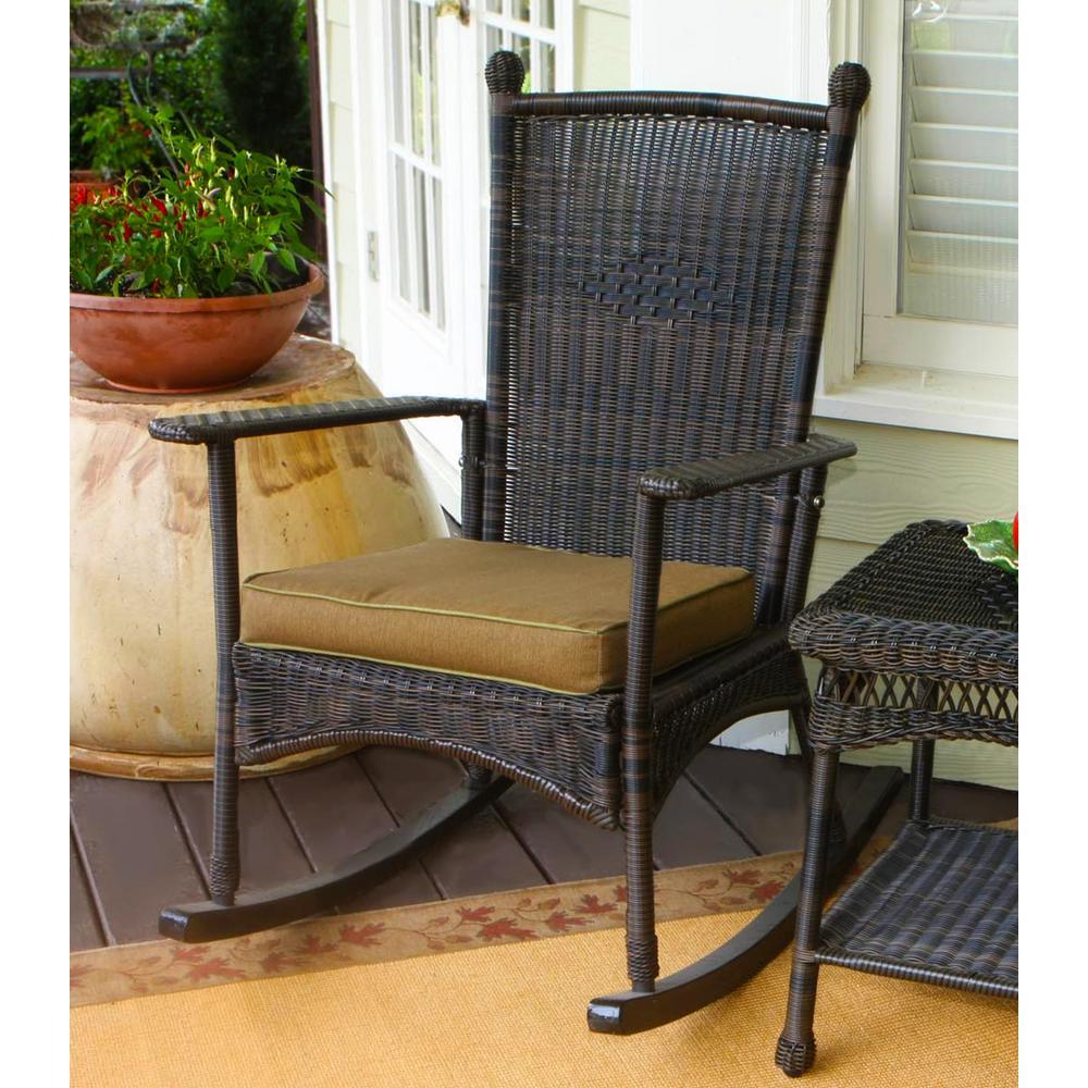 Portside Classic Outdoor Rocking Chair Dark Roast Wicker with Tan Cushion