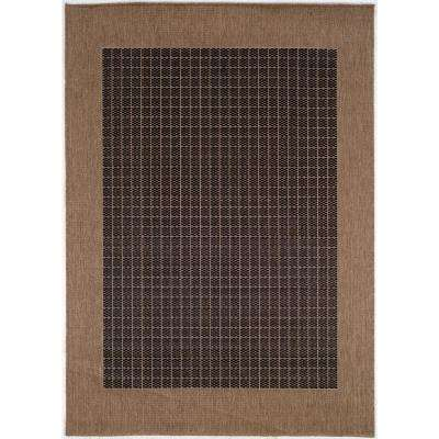 Recife Checkered Field Black-Cocoa 6 ft. x 9 ft. Indoor/Outdoor Area Rug