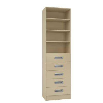 15 in. D x 24 in. W x 84 in. H Firenze Almond Melamine with 4-Shelves and 5-Drawers Closet System Kit