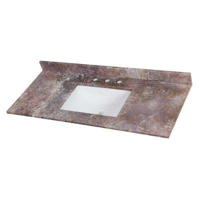49 in. W x 22 in. D Stone Effects Vanity Top in Avalon with White Sink