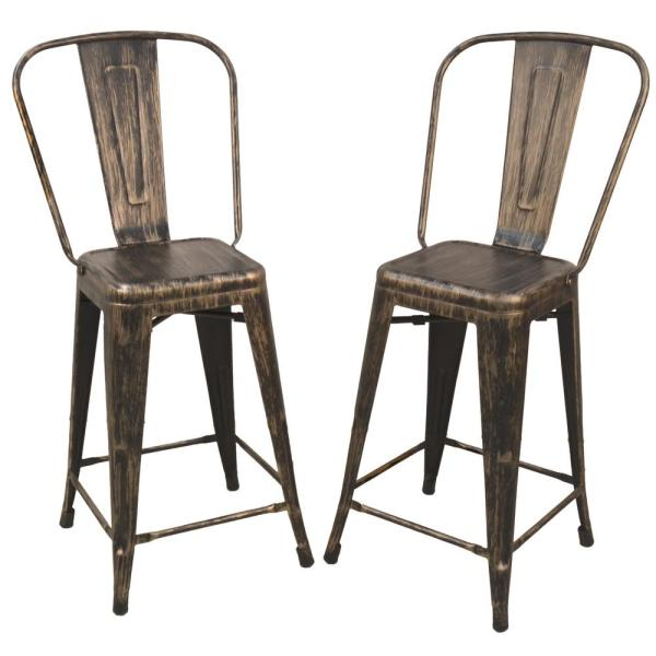 Adeline 24 in. Antique Copper Metal Counter Stool (Set of 2)