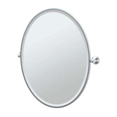 Charlotte 29 in. x 33 in. Framed Single Large Oval Mirror in Chrome