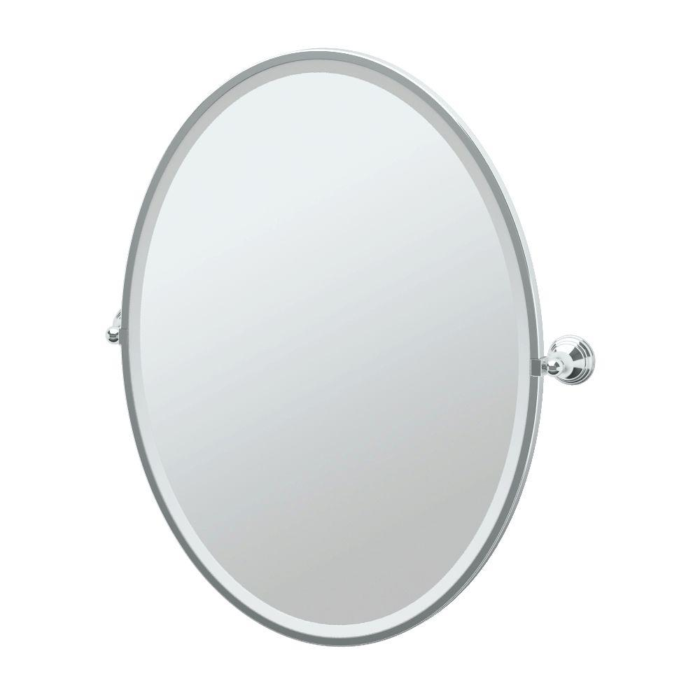 Charlotte 29 in. x 33 in. Framed Single Large Oval Mirror