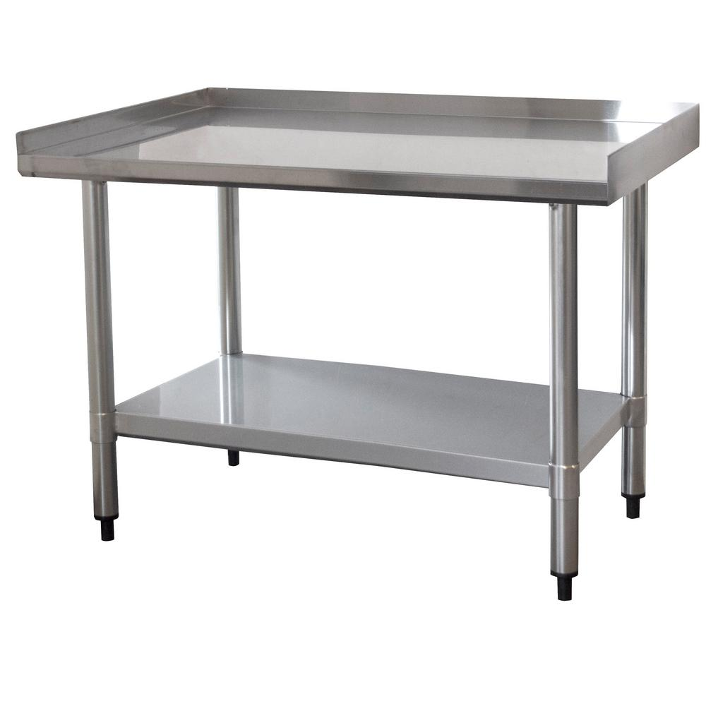 Sportsman Ft X Ft Stainless Steel Worktable With Upturned Edge - Stainless steel work table with wheels
