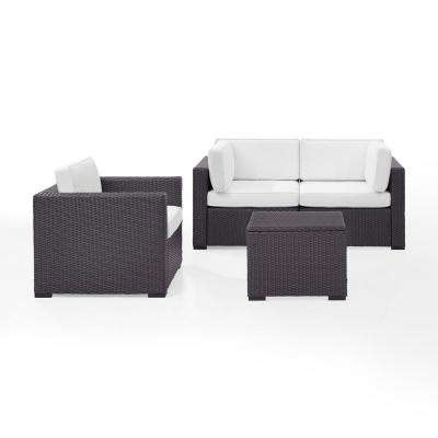Biscayne 3-Person Wicker Outdoor Seating Set with White Cushions - 2 Corner Chairs, 1 Arm Chair, 1 Coffee Table