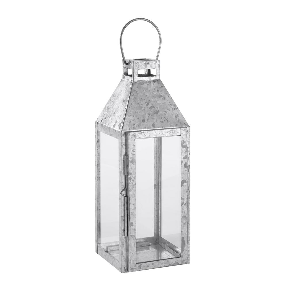 hamptonbay Hampton Bay 14 in. Galvanized Metal and Glass Outdoor Patio Lantern