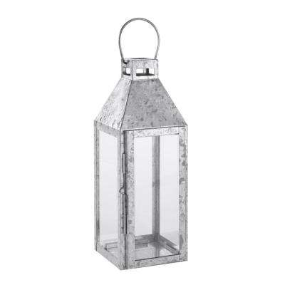 14 in. Galvanized Metal and Glass Lantern