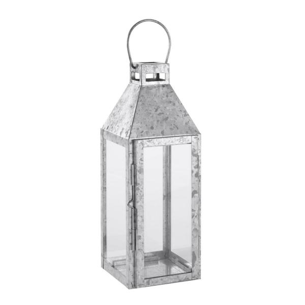 Hampton Bay 14 In Galvanized Metal And Glass Outdoor Patio Lantern Hd19016s The Home Depot