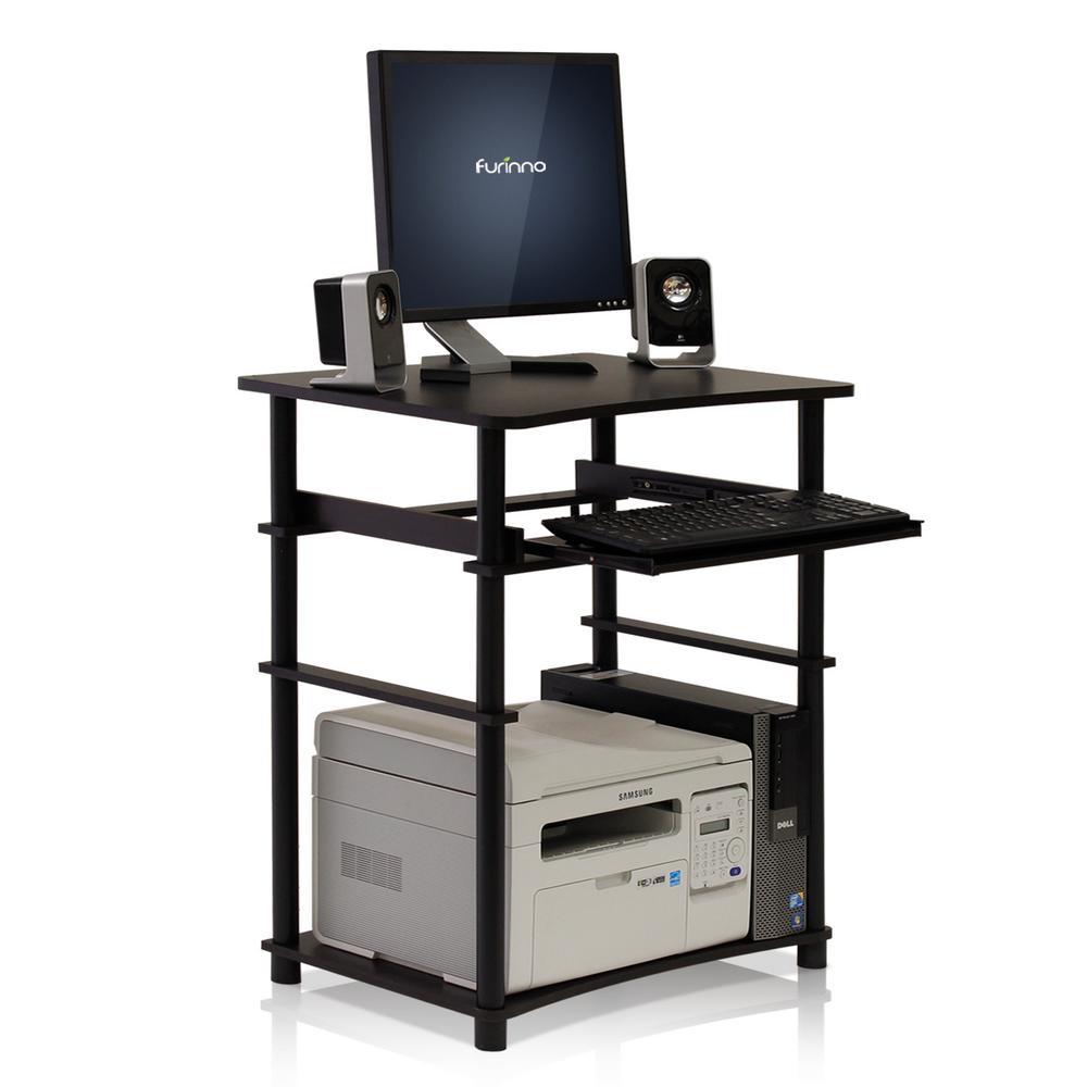 Furinno Home Laptop Espresso Computer Desk with Keyboard Tray 10016EX/BK