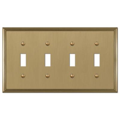 Rhodes 4 Gang Toggle Metal Wall Plate - Brushed Bronze