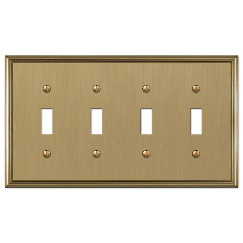Amerelle 163T4DB Traditional Steel Wallplate with 4 Toggle Fr Aged Bronze New