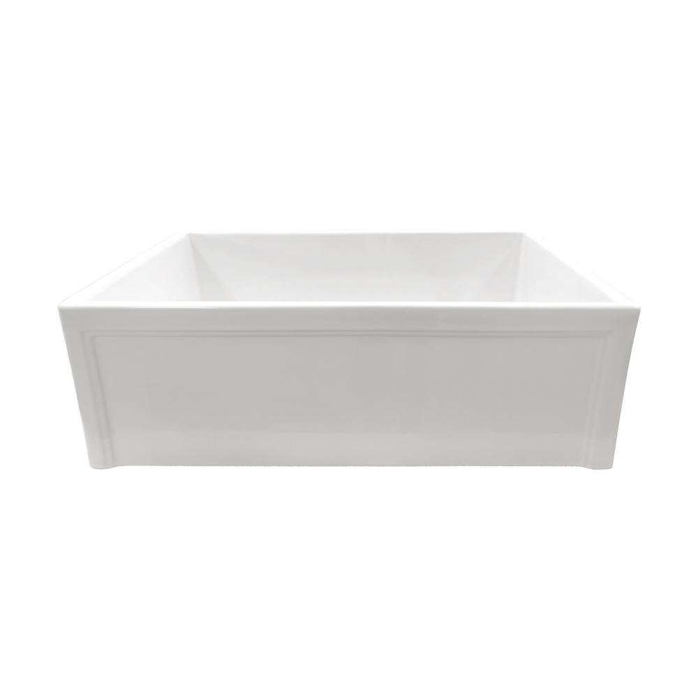 Apron-Front Fireclay 30 in. Picture Frame Single Bowl Kitchen Sink in