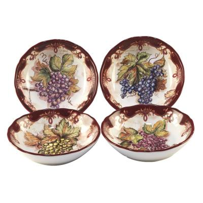 Vintners Journal 4-Piece Multi-Colored 8.25 in. x 2 in. Soup/Pasta Bowl Set