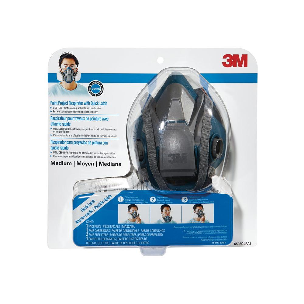 Medium Paint Project Respirator with Quick Latch Mask