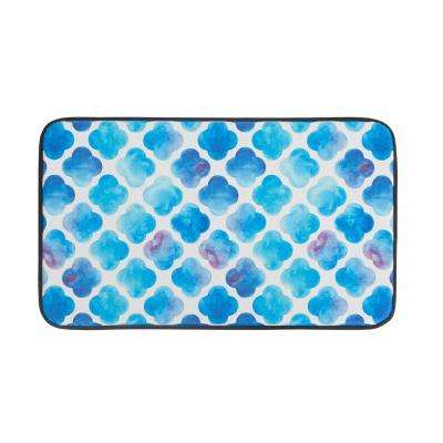Watercolor Clover 18 in. x 30 in. Anti-Fatigue Faux Leather Kitchen Mat