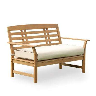 Belize Teak Wood Outdoor Loveseat with Taupe Cushions