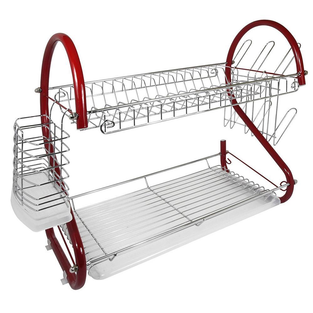 16 in. Dish Rack in Red Chrome