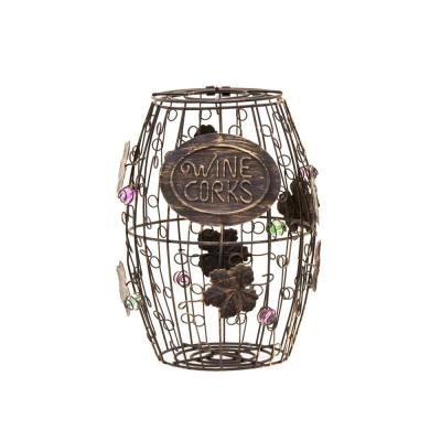 Corky Metal Wine Cork Holder with Ornaments , Bronze
