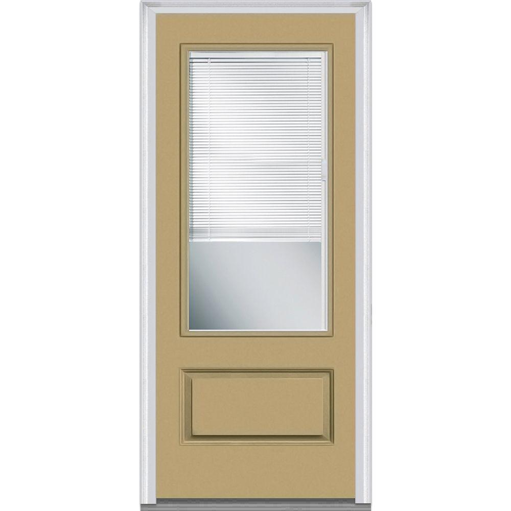 Mmi Door 36 In X 80 In Internal Blinds Clear Left Hand 3 4 Lite 1 Panel Classic Painted