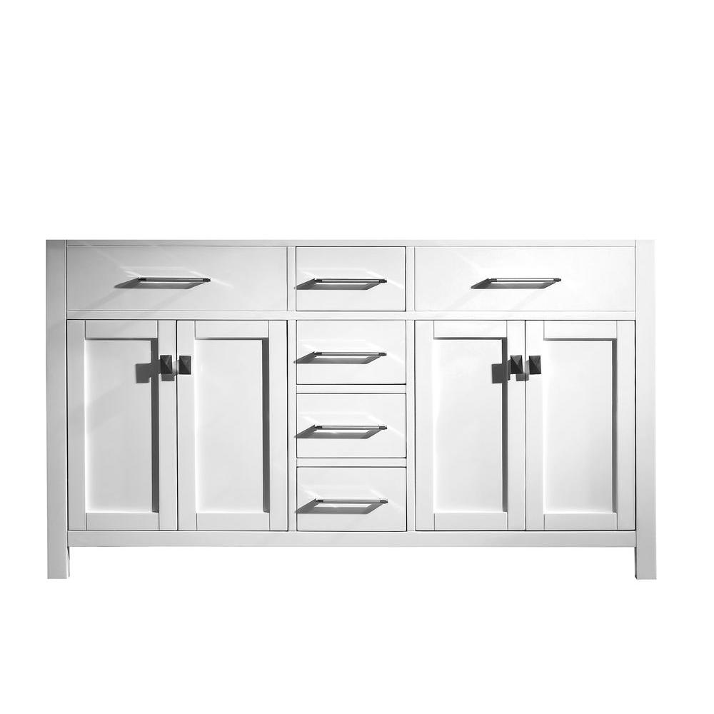 Virtu USA Caroline 60 in. W Bath Vanity Cabinet Only in White-MD2060 ...