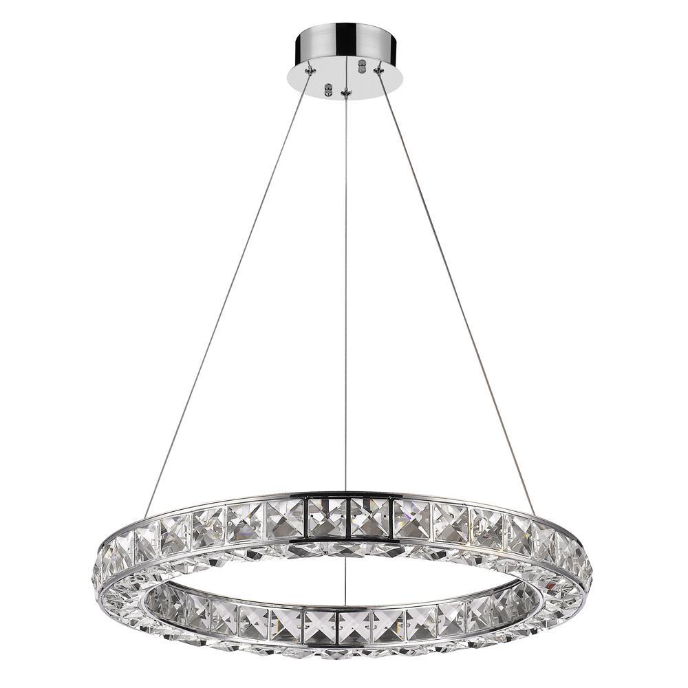 Noemi 125-Watt Equivalence Chrome Integrated LED Crystal Ring Chandelier