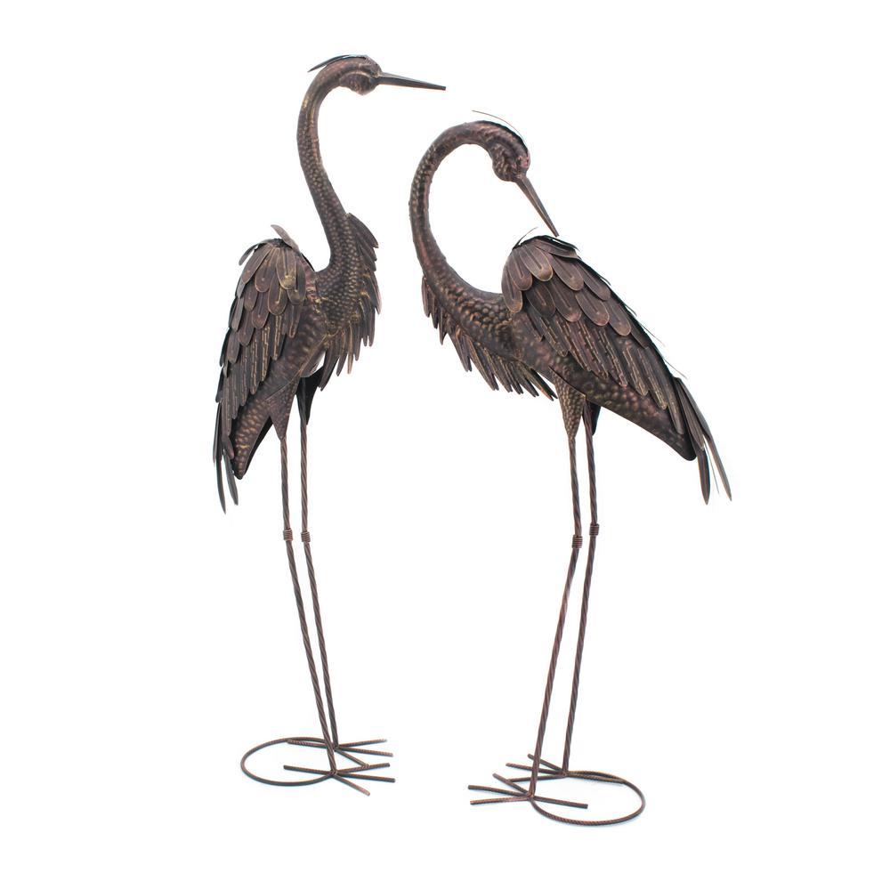 Set of 2 Standing Garden Cranes-ZR140783 - The Home Depot