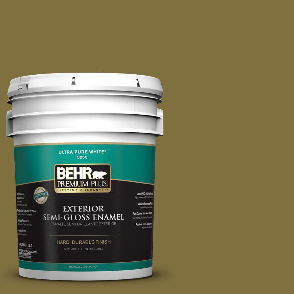 5-gal. #S-H-390 Italian Olive Semi-Gloss Enamel Exterior Paint