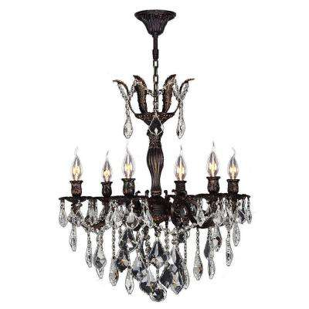 Versailles 6-Light Flemish Brass Crystal Chandelier