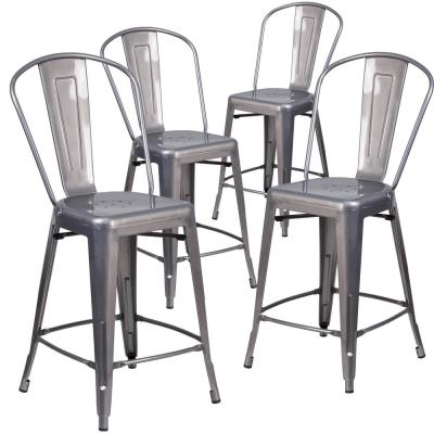 24.5 in. Clear Coated Bar Stool (Set of 4)
