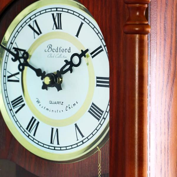 "BEDFORD MMAHOGANY CHERRY WOOD 22/"" WALL CLOCK with PENDULUM and HOUR CHIMES NEW"