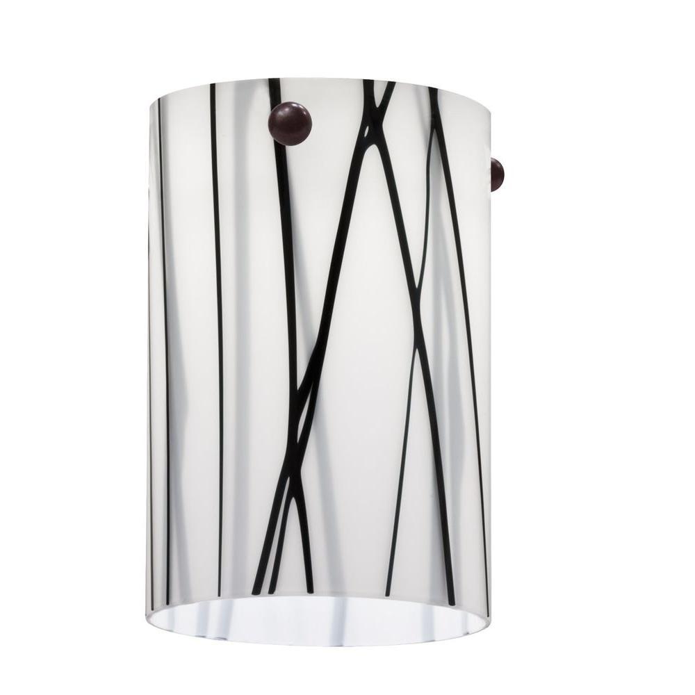 White Drizzle Short Cylinder Shade LED Mini Pendant