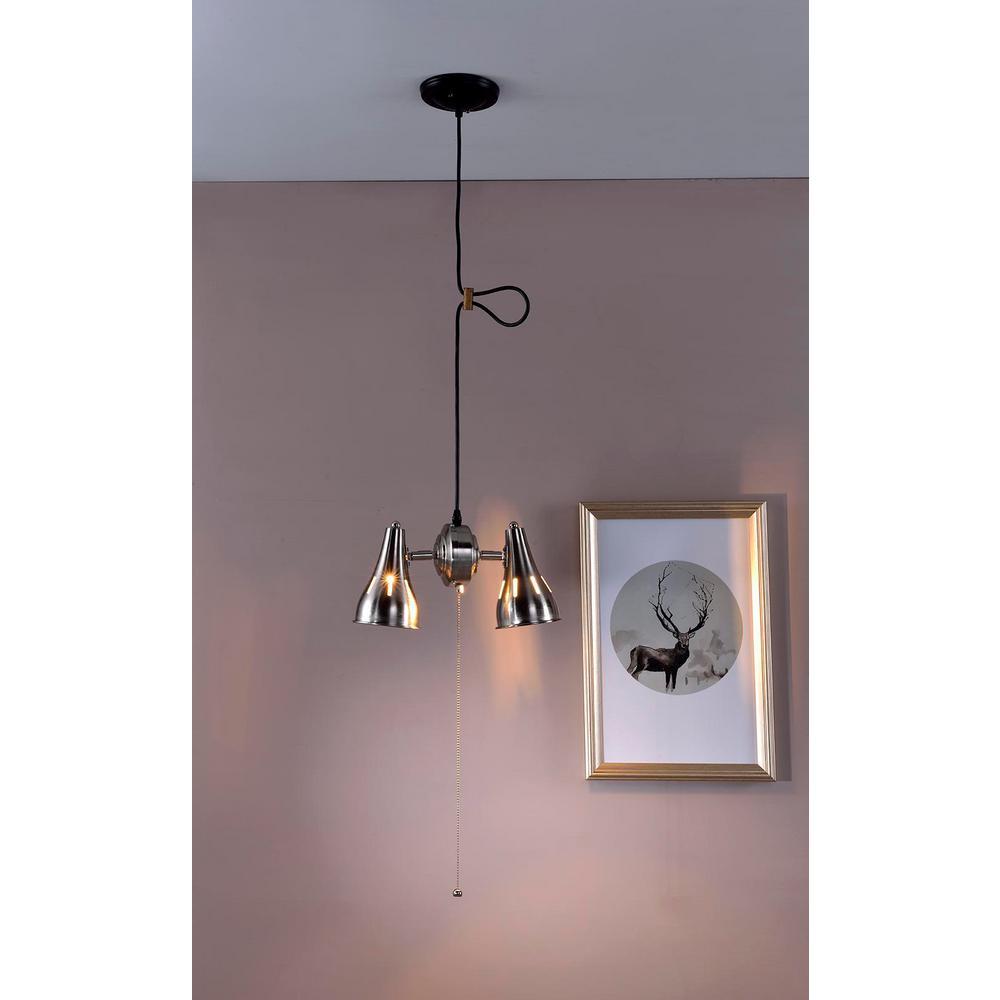 Ore International 2 Light Dual Brush Silver Metal Cone Pull String Ceiling Pendant