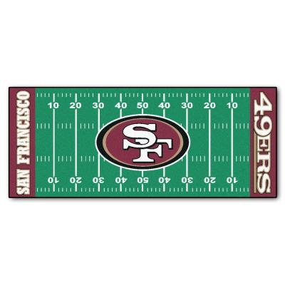 San Francisco 49ers 3 ft. x 6 ft. Football Field Rug Runner Rug