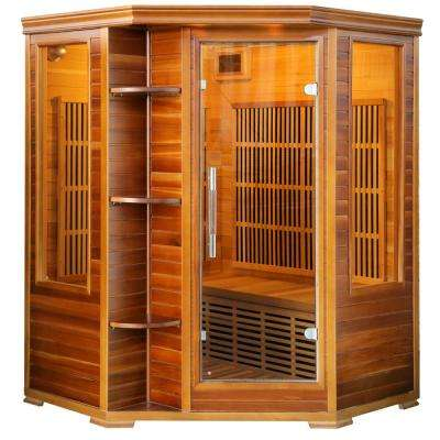 3-Person with 7 Low-EMF Carbon Heaters and Audio System Cedar Elite Infrared Sauna