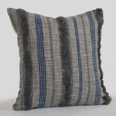 Striped Fringe Trim Nautical Gray 18 in. x 18 in. Decorative Throw Pillow
