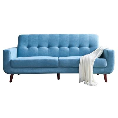 79.6 in.  Width Blue Mid-Century Modern Fabric Upholstered Lovseats Sofa with Tufted Back