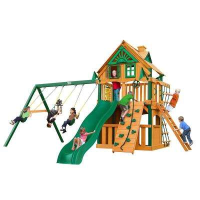 Chateau Clubhouse Treehouse Wooden Swing Set with Fort Add-On, Timber Shield Posts and Slide