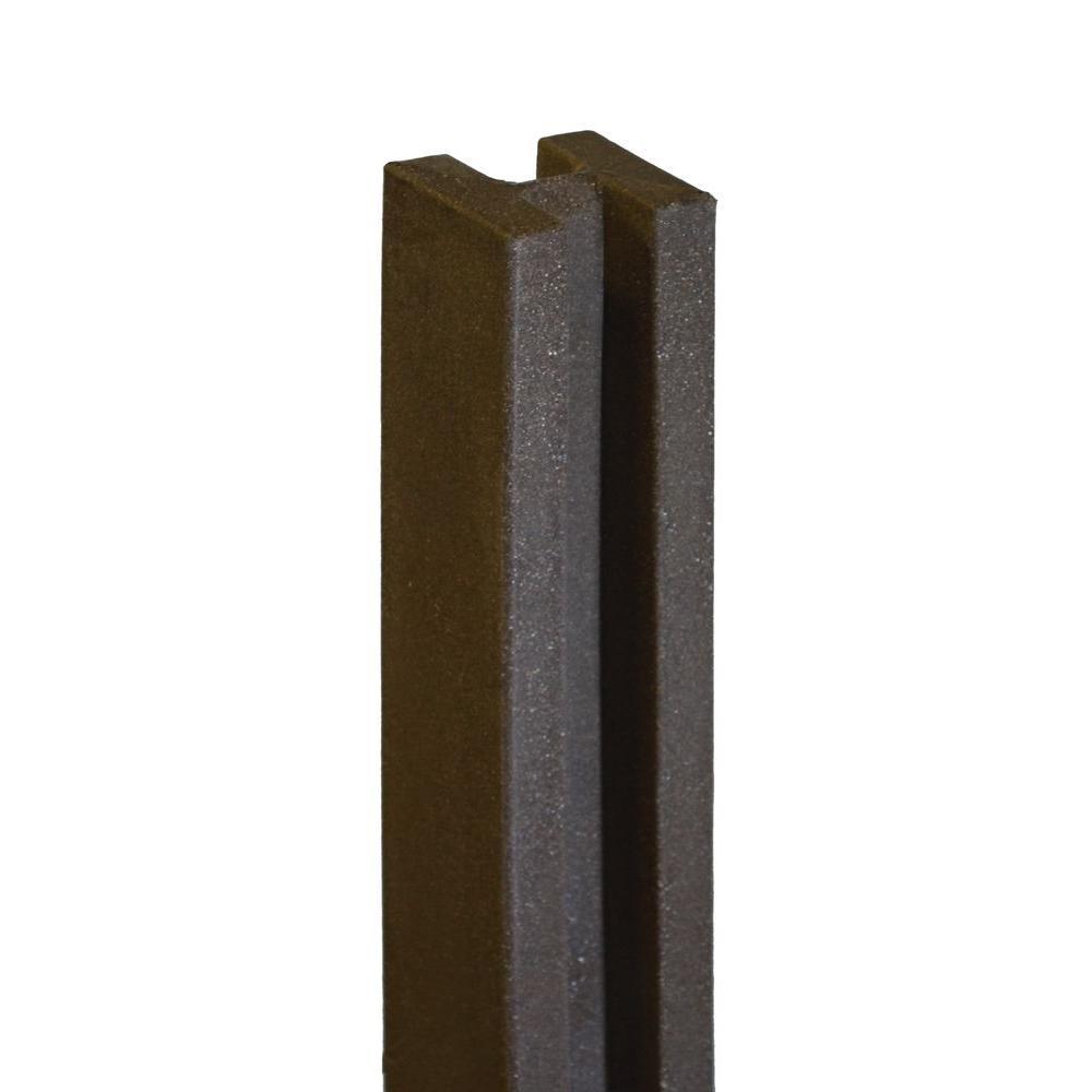 5 in. x 5 in. x 8-1/2 ft. Dark/Walnut Brown Composite Fence Line Post