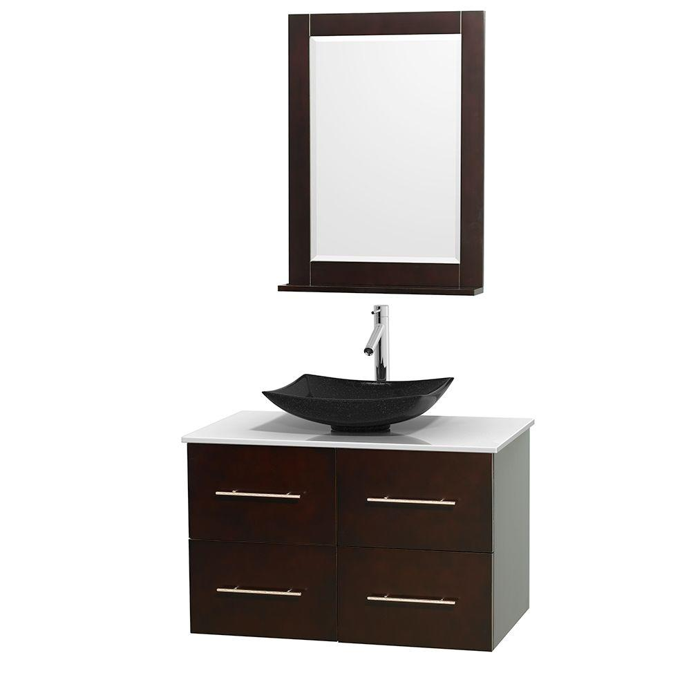 Centra 36 In. Vanity In Espresso With Solid Surface Vanity Top In