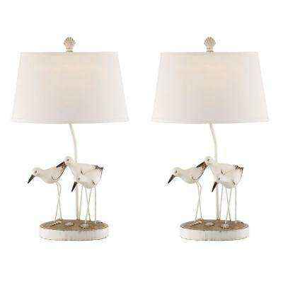 28.5 in. White Indoor Table Lamp Set