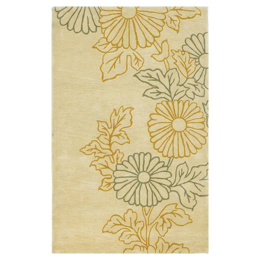 Kas Rugs Flowers on the Side Ivory 3 ft. 3 in. x 5 ft. 3 in. Area Rug