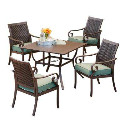 Milano 5-Piece Metal Outdoor Dining Set with Teal Cushions