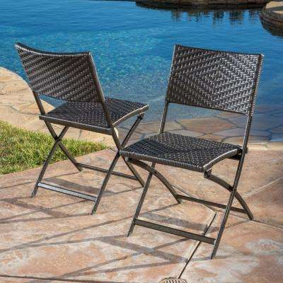 El Paso Multi-Brown Stationary Wicker Outdoor Dining Chairs (2-Set)