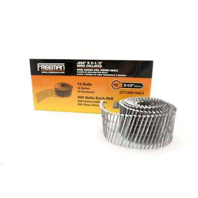 2-1/2 in. x 0.092 in. Dia Hot Dipped Galvanized Ring Shank Wire Collated Siding Nails 3,600 Count