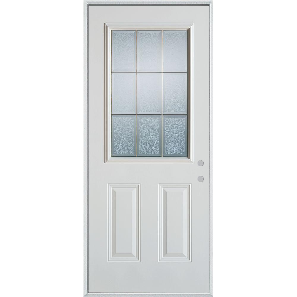 Stanley Doors 36 in. x 80 in. Geometric Clear and Brass 1/2 Lite 2-Panel Painted White Left-Hand Inswing Steel Prehung Front Door