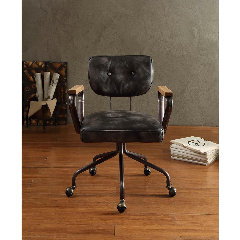 Internet 301764192 3 Acme Furniture Hallie Vintage Black Top Grain Leather Office Chair