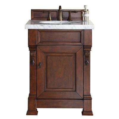 Brookfield 26 in. W Single Vanity in Warm Cherry with Marble Vanity Top in Carrara White with White Basin