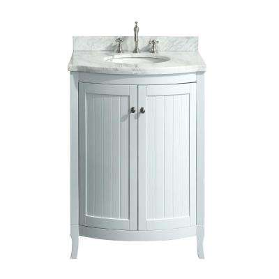 Odessa Zinx 24 in. W x 22.50 in. D x 34 in. H Vanity in White with Carrera Marble Vanity Top in White with White Basin