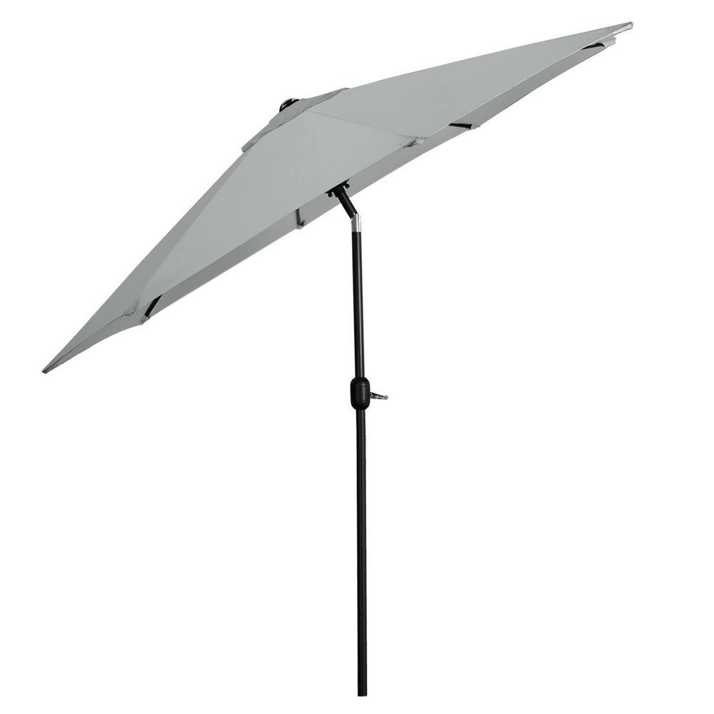9 ft. Steel Outdoor Market Patio Umbrella in Dark Grey