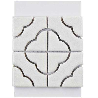 Palace White Porcelain Mosaic Tile - 3 in. x 4 in. Tile Sample